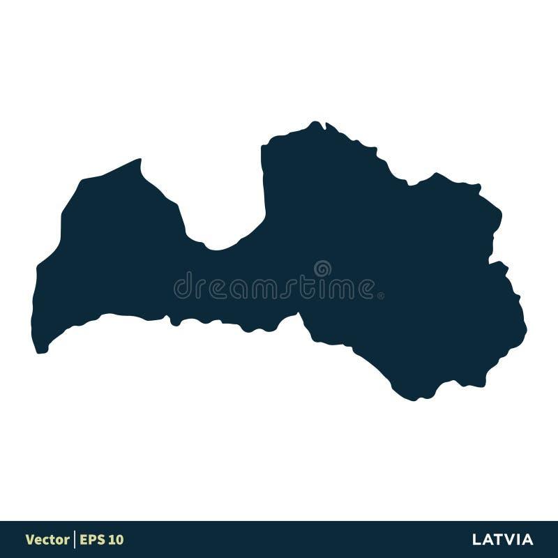 Διανυσματικό σχέδιο απεικόνισης προτύπων εικονιδίων χαρτών χωρών της Λετονίας - της Ευρώπης r ελεύθερη απεικόνιση δικαιώματος