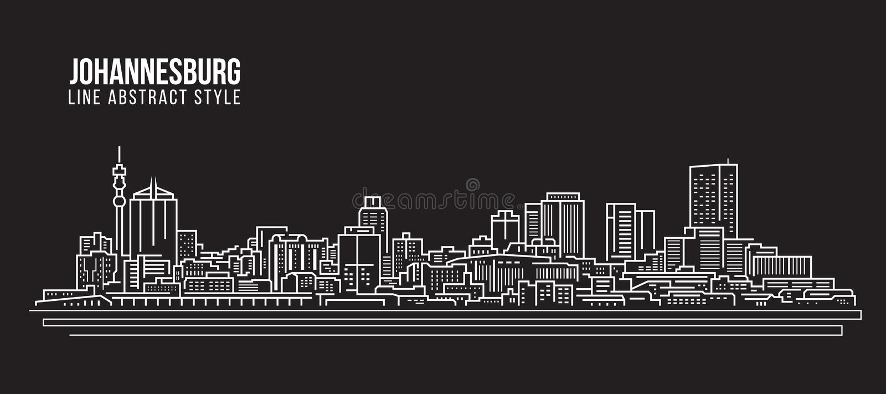 Διανυσματικό σχέδιο απεικόνισης τέχνης γραμμών κτηρίου εικονικής παράστασης πόλης - ορίζοντας του Γιοχάνεσμπουργκ διανυσματική απεικόνιση