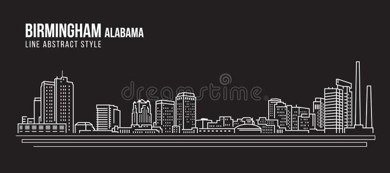 Διανυσματικό σχέδιο απεικόνισης τέχνης γραμμών κτηρίου εικονικής παράστασης πόλης - πόλη Αλαμπάμα του Μπέρμιγχαμ απεικόνιση αποθεμάτων