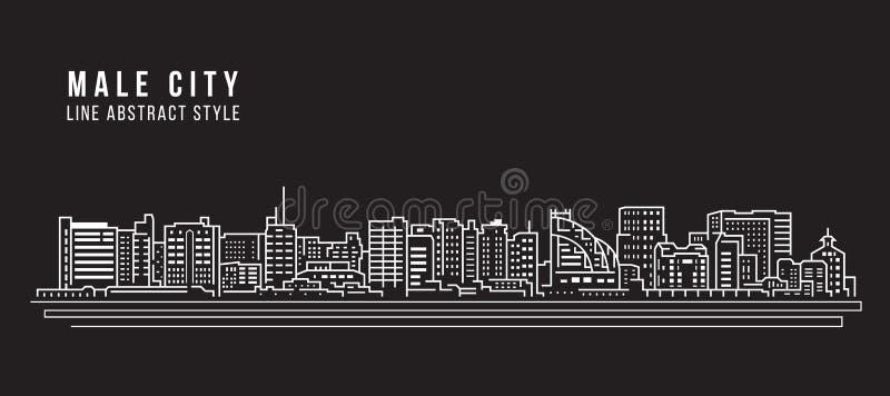Διανυσματικό σχέδιο απεικόνισης τέχνης γραμμών κτηρίου εικονικής παράστασης πόλης - αρσενική πόλη - Μαλδίβες απεικόνιση αποθεμάτων