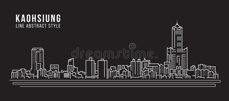 Διανυσματικό σχέδιο απεικόνισης τέχνης γραμμών κτηρίου εικονικής παράστασης πόλης - πόλη Kaohsiung ελεύθερη απεικόνιση δικαιώματος