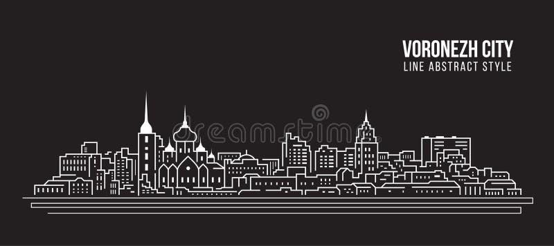 Διανυσματικό σχέδιο απεικόνισης τέχνης γραμμών κτηρίου εικονικής παράστασης πόλης - πόλη Voronezh διανυσματική απεικόνιση