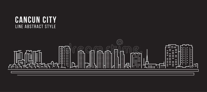 Διανυσματικό σχέδιο απεικόνισης τέχνης γραμμών κτηρίου εικονικής παράστασης πόλης - cancun πόλη ελεύθερη απεικόνιση δικαιώματος