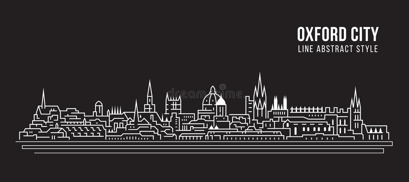 Διανυσματικό σχέδιο απεικόνισης τέχνης γραμμών κτηρίου εικονικής παράστασης πόλης - πόλη της Οξφόρδης ελεύθερη απεικόνιση δικαιώματος