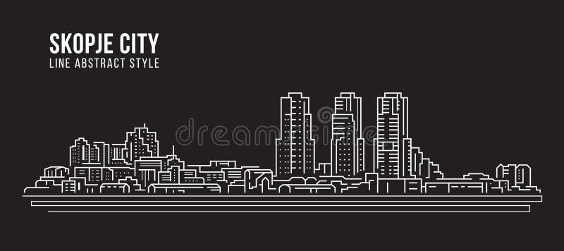 Διανυσματικό σχέδιο απεικόνισης τέχνης γραμμών κτηρίου εικονικής παράστασης πόλης - πόλη των Σκόπια διανυσματική απεικόνιση