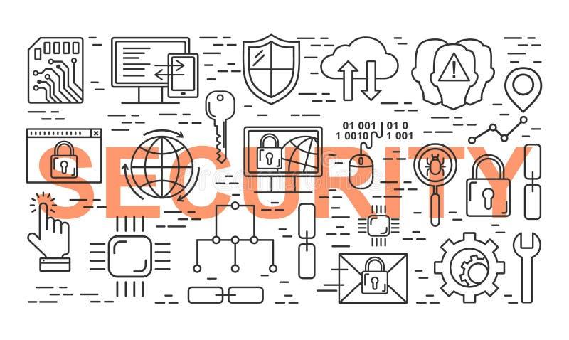 Διανυσματικό σχέδιο ασφάλειας Διαδικτύου ύφους γραμμών Γραμμική έννοια προστασίας δεδομένων Ιδιωτικότητα Ιστού και υπόβαθρο ασφάλ απεικόνιση αποθεμάτων