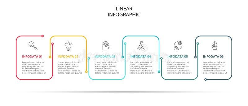 Διανυσματικό σχέδιο γραμμών Infographic λεπτό με τα εικονίδια και 6 επιλογές ή βήματα r ελεύθερη απεικόνιση δικαιώματος