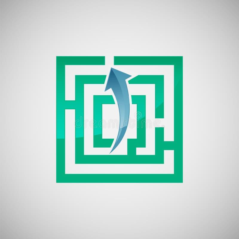 Διανυσματικό σχέδιο εικονιδίων λαβύρινθων και βελών, εφαρμογή και γραφικό σχέδιο απεικόνιση αποθεμάτων