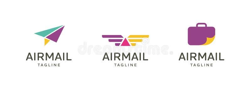 Διανυσματικό σχέδιο εμβλημάτων λογότυπων ταξιδιού αεροπλάνων απεικόνιση αποθεμάτων
