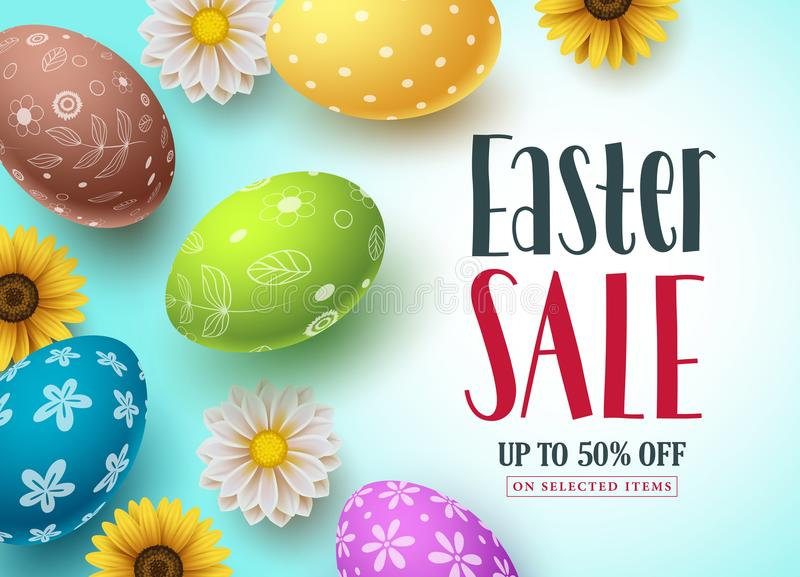 Διανυσματικό σχέδιο εμβλημάτων πώλησης Πάσχας με τα ζωηρόχρωμα αυγά και τα λουλούδια για την έκπτωση αγορών απεικόνιση αποθεμάτων