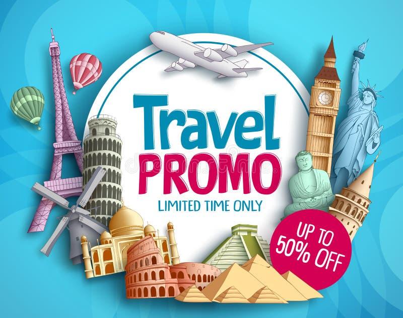 Διανυσματικό σχέδιο εμβλημάτων promo ταξιδιού με ορόσημα παγκόσμιων ` s τα διάσημα τουριστών απεικόνιση αποθεμάτων
