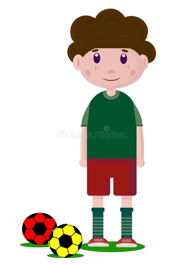 Διανυσματικό σχέδιο ενός αγοριού ποδοσφαιριστών με τη σφαίρα ποδοσφαίρου ελεύθερη απεικόνιση δικαιώματος