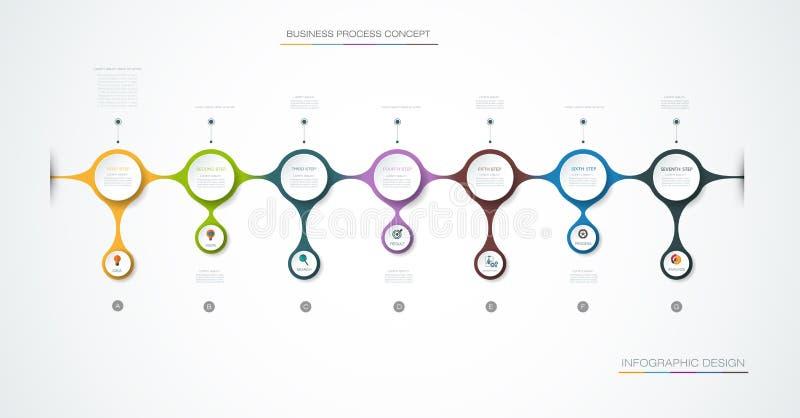 Διανυσματικό σχέδιο ετικετών Infographic με τα εικονίδια και 7 επιλογές ή βήμα ελεύθερη απεικόνιση δικαιώματος