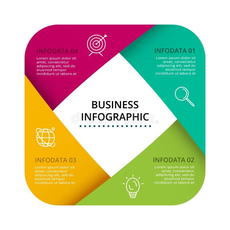 Διανυσματικό σχέδιο ετικετών Infographic με τα εικονίδια και 4 επιλογές ή βήματα Infographics για την επιχειρησιακή έννοια για τι απεικόνιση αποθεμάτων