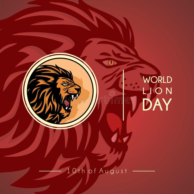 Διανυσματικό σχέδιο ημέρας παγκόσμιων λιονταριών στοκ εικόνες