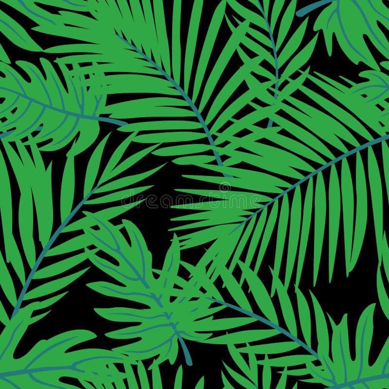 Διανυσματικό σχέδιο θερινών τροπικό φύλλων E Διανυσματικό υπόβαθρο Doodle με τα φύλλα διανυσματική απεικόνιση