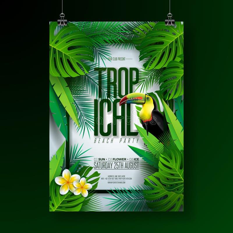 Διανυσματικό σχέδιο ιπτάμενων κόμματος θερινών τροπικό παραλιών με Toucan, το λουλούδι και τα τυπογραφικά στοιχεία στο εξωτικό υπ διανυσματική απεικόνιση