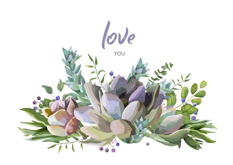 Διανυσματικό σχέδιο καρτών με το Succulent μούρο εγκαταστάσεων λουλουδιών απεικόνιση αποθεμάτων