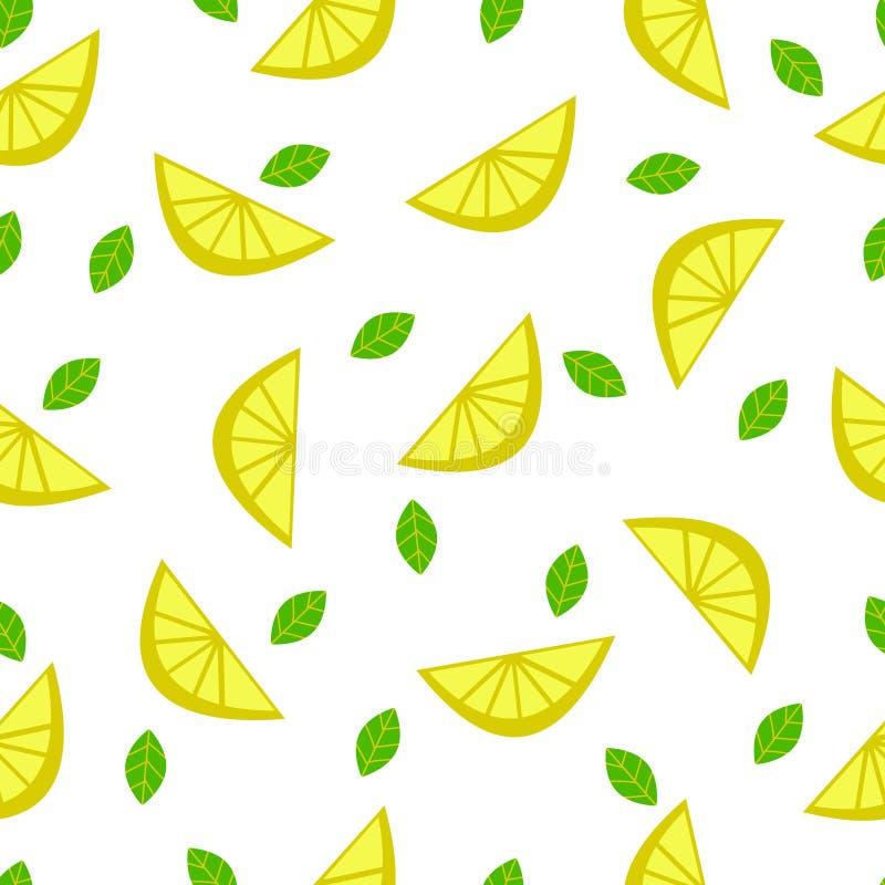 Διανυσματικό σχέδιο λεμονιών με τα φύλλα στο άσπρο υπόβαθρο στοκ εικόνα με δικαίωμα ελεύθερης χρήσης