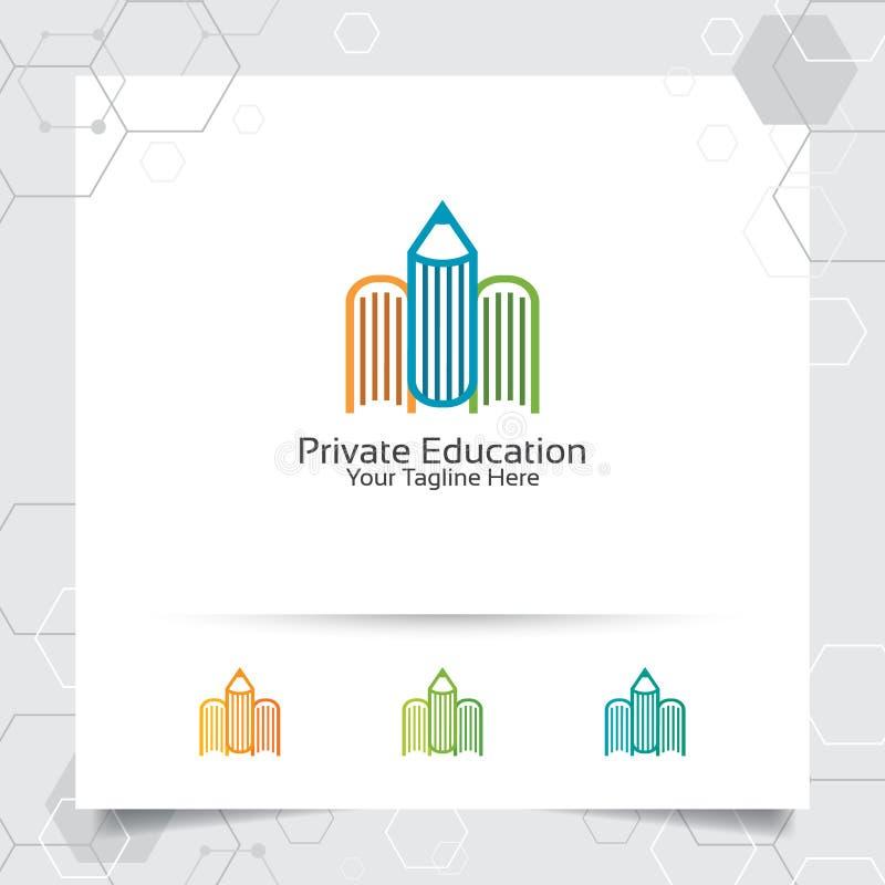 Διανυσματικό σχέδιο λογότυπων βιβλίων με το σύμβολο εικονιδίων μολυβιών για τη βιβλιοθήκη, την εκπαίδευση, το βιβλιοπωλείο, και τ ελεύθερη απεικόνιση δικαιώματος