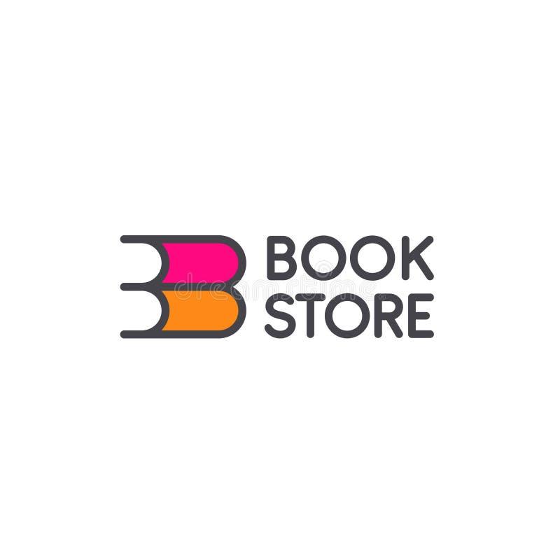 Διανυσματικό σχέδιο λογότυπων για το κατάστημα βιβλίων διανυσματική απεικόνιση