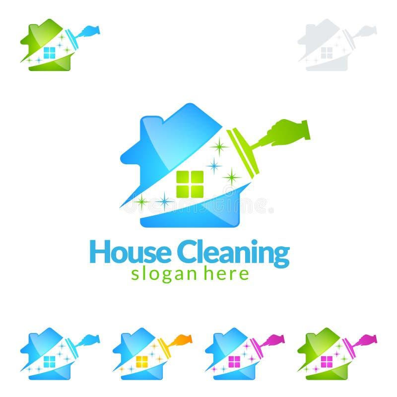 Διανυσματικό σχέδιο λογότυπων εγχώριων υπηρεσιών καθαρισμού, Eco φιλικά με τη λαμπρή σκούπα και έννοια κύκλων που απομονώνεται στ ελεύθερη απεικόνιση δικαιώματος