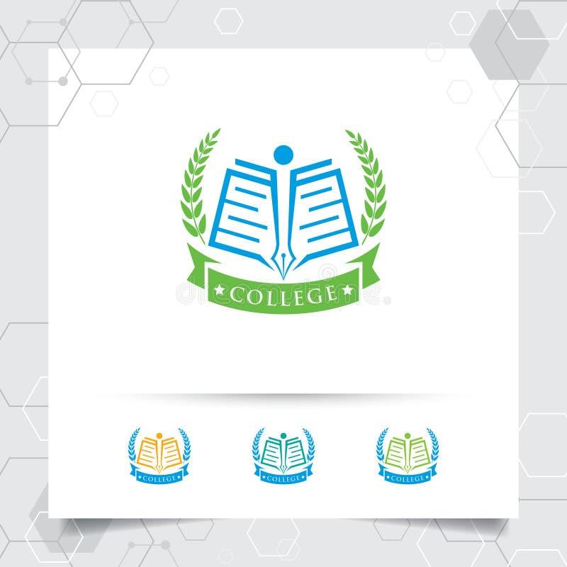 Διανυσματικό σχέδιο λογότυπων εκπαίδευσης με την έννοια του βιβλίου, της μάνδρας, και της απεικόνισης εικονιδίων στεφανιών για τη απεικόνιση αποθεμάτων