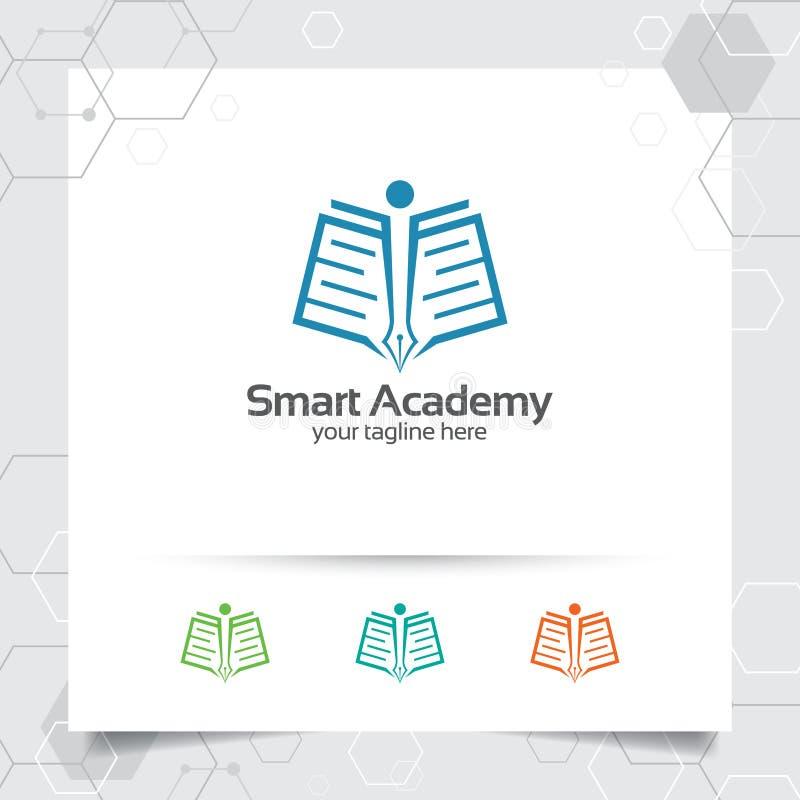 Διανυσματικό σχέδιο λογότυπων εκπαίδευσης με την έννοια του βιβλίου, της μάνδρας, και της απεικόνισης εικονιδίων ανθρώπων για την διανυσματική απεικόνιση