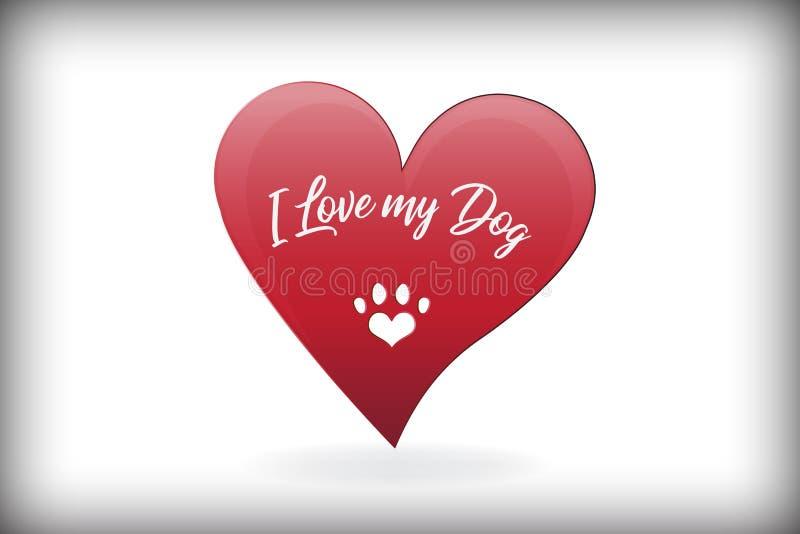 Διανυσματικό σχέδιο λογότυπων καρδιών αγάπης σκυλιών ποδιών ελεύθερη απεικόνιση δικαιώματος