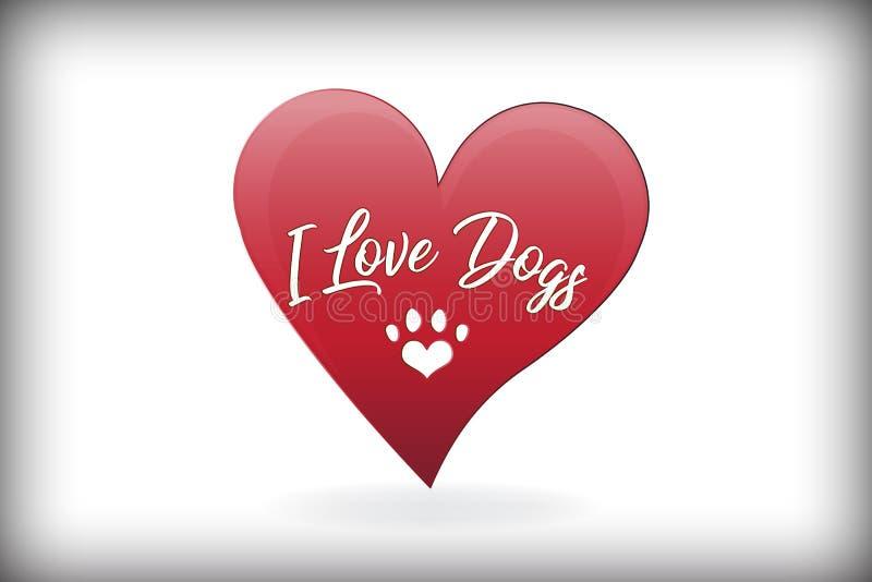 Διανυσματικό σχέδιο λογότυπων καρδιών αγάπης σκυλιών ποδιών απεικόνιση αποθεμάτων