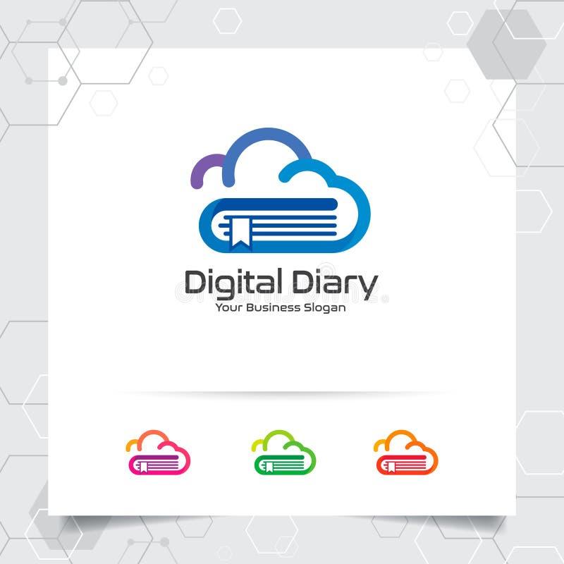 Διανυσματικό σχέδιο λογότυπων σύννεφων βιβλίων με την έννοια του ζωηρόχρωμου εικονιδίου σύννεφων και βιβλίων Διάνυσμα εικονιδίων  διανυσματική απεικόνιση