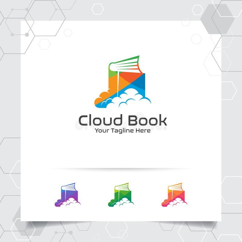 Διανυσματικό σχέδιο λογότυπων σύννεφων βιβλίων με την έννοια του ζωηρόχρωμου εικονιδίου σύννεφων και βιβλίων Διάνυσμα εικονιδίων  ελεύθερη απεικόνιση δικαιώματος