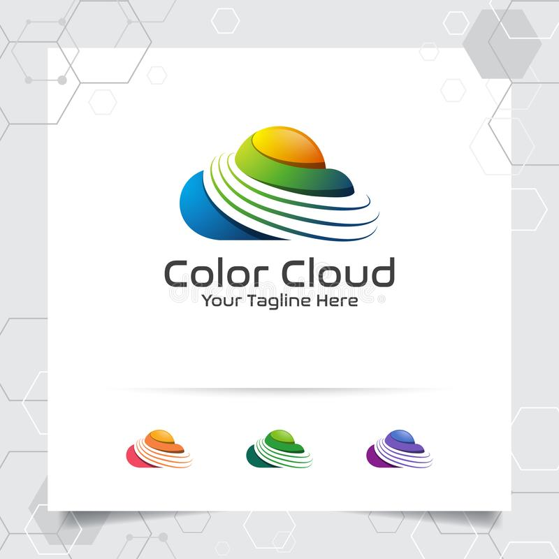 Διανυσματικό σχέδιο λογότυπων σύννεφων χρώματος με την έννοια του σύγχρονου ζωηρόχρωμου σύννεφου Διάνυσμα εικονιδίων σύννεφων για διανυσματική απεικόνιση