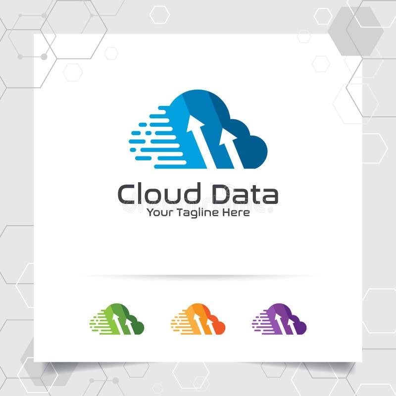 Διανυσματικό σχέδιο λογότυπων φιλοξενίας σύννεφων με την έννοια του ψηφιακού και συμβόλου στοιχείων Σύννεφο που υπολογίζει τη δια απεικόνιση αποθεμάτων