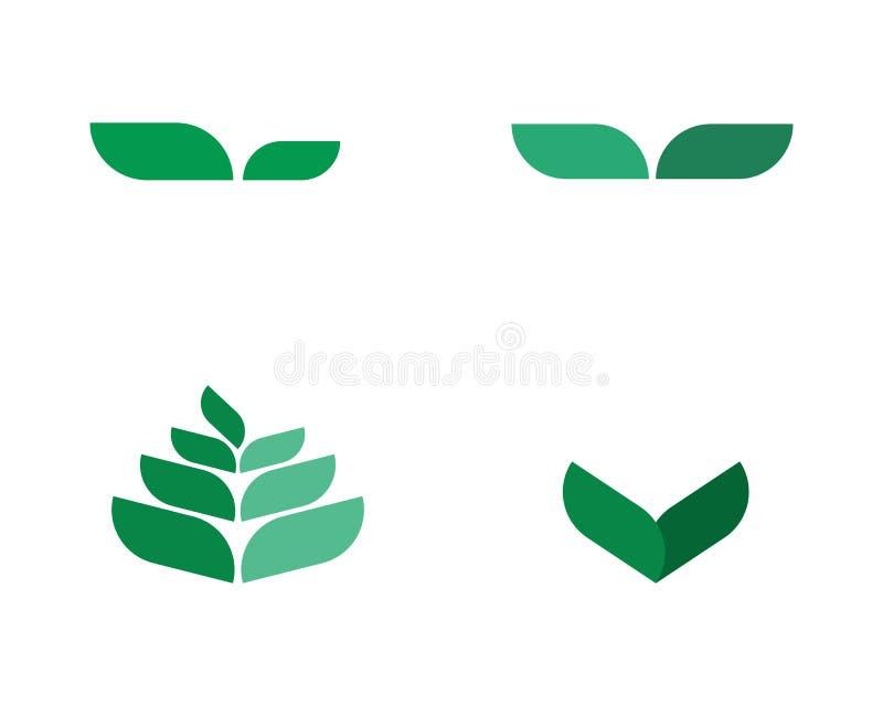 Διανυσματικό σχέδιο λογότυπων φύλλων δέντρων, φιλική προς το περιβάλλον έννοια απεικόνιση αποθεμάτων