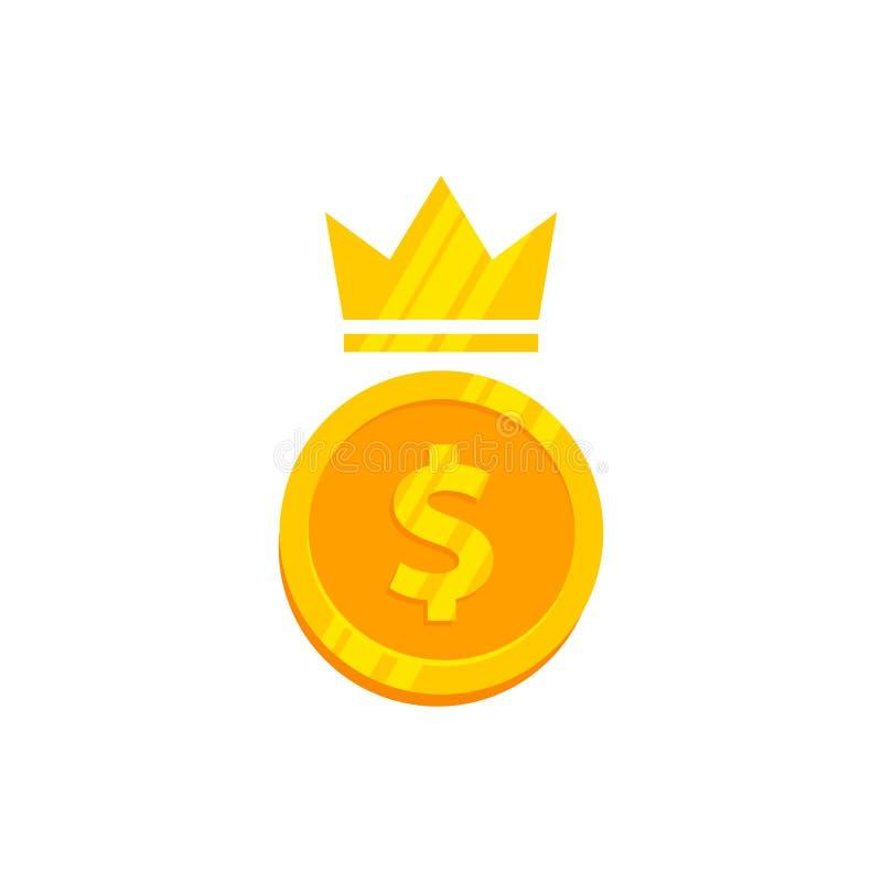 διανυσματικό σχέδιο λογότυπων χρημάτων βασιλιάδων νόμισμα χρημάτων με την απεικόνιση εικονιδίων κορωνών απεικόνιση αποθεμάτων