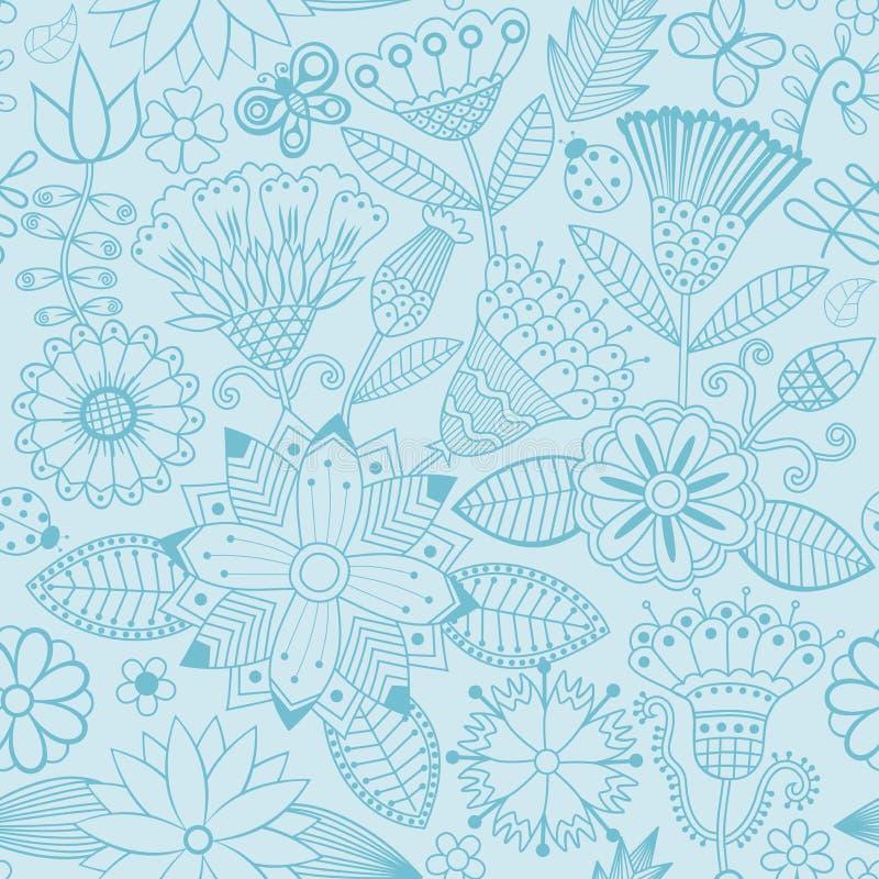 Διανυσματικό σχέδιο λουλουδιών Γραπτή άνευ ραφής βοτανική σύσταση ελεύθερη απεικόνιση δικαιώματος