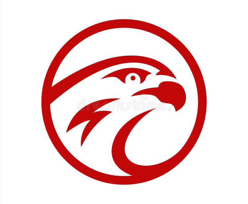 Διανυσματικό σχέδιο μασκότ λογότυπων ομάδων παιχνιδιού αθλητικών παιχνιδιών γερακιών ή γερακιών επικεφαλής Αμερικανικό άγριο σημά απεικόνιση αποθεμάτων