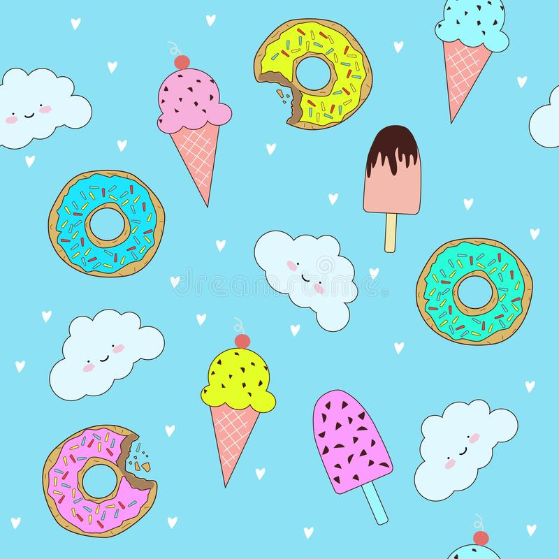 Διανυσματικό σχέδιο με τα χαριτωμένα donuts και το παγωτό διανυσματική απεικόνιση