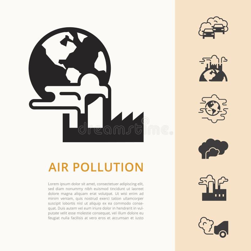 Διανυσματικό σχέδιο με τη θέση για το κείμενο στο θέμα της οικολογίας και το πρόβλημα της οικολογίας των διάφορων χωρών ελεύθερη απεικόνιση δικαιώματος