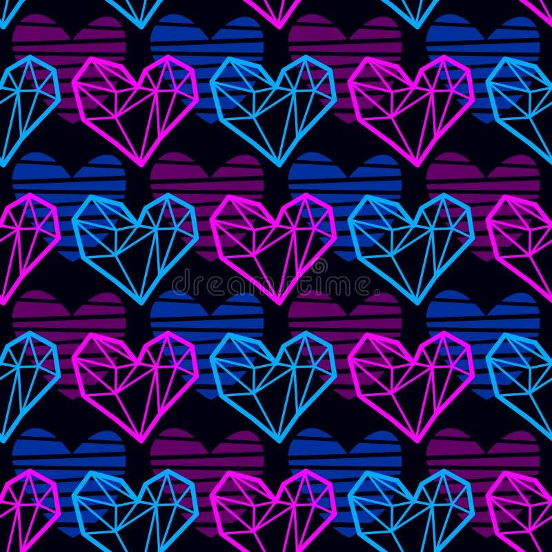 Διανυσματικό σχέδιο με τις polygonal καρδιές νέου στοκ φωτογραφίες με δικαίωμα ελεύθερης χρήσης