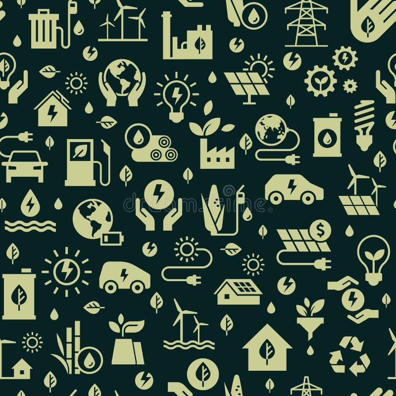 Διανυσματικό σχέδιο με το άνευ ραφής σχέδιο οικολογίας και πράσινη ενεργειακή έννοια στο καθιερώνον τη μόδα επίπεδο ύφος ελεύθερη απεικόνιση δικαιώματος
