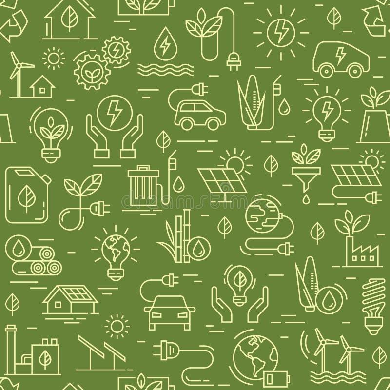 Διανυσματικό σχέδιο με το άνευ ραφής σχέδιο οικολογίας και πράσινη ενεργειακή έννοια στο καθιερώνον τη μόδα επίπεδο ύφος διανυσματική απεικόνιση