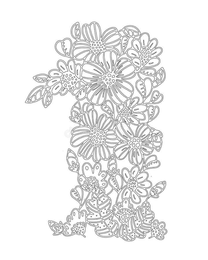 Διανυσματικό σχέδιο περιλήψεων των λουλουδιών για τα ενήλικα χρωματίζοντας βιβλία Σελίδα του floral σχεδίου σε γραπτό διανυσματική απεικόνιση