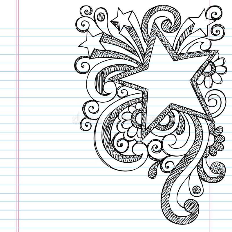 Διανυσματικό σχέδιο πλαισίων εικόνων Doodle αστεριών περιγραμματικό διανυσματική απεικόνιση