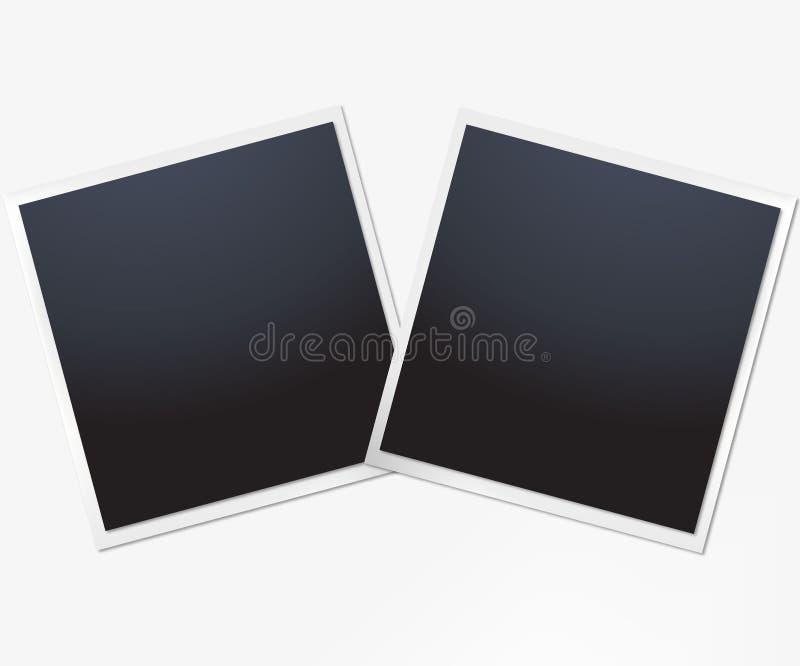 Διανυσματικό σχέδιο προτύπων δύο πλαισίων φωτογραφιών Άσπρα σύνορα σε ένα άσπρο υπόβαθρο ελεύθερη απεικόνιση δικαιώματος