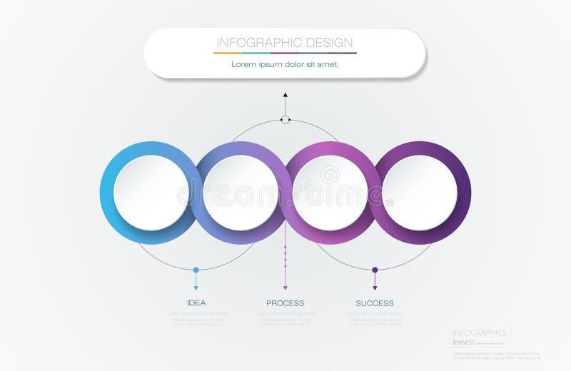 Διανυσματικό σχέδιο προτύπων ετικετών κύκλων Infographic τρισδιάστατο Infograph με τις επιλογές ή τα βήματα 4 αριθμών ελεύθερη απεικόνιση δικαιώματος