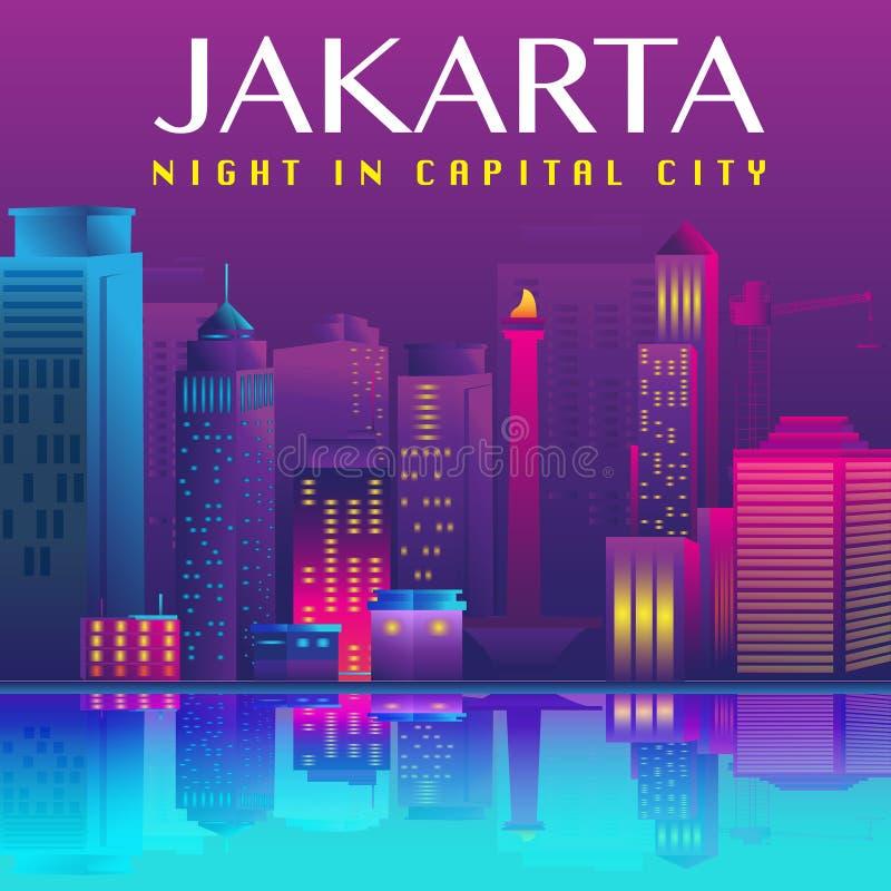 Διανυσματικό σχέδιο πρωτευουσών της Τζακάρτα απεικόνιση αποθεμάτων