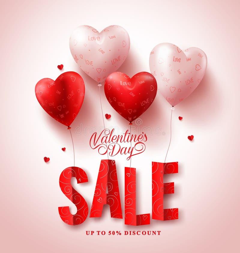 Διανυσματικό σχέδιο πώλησης ημέρας βαλεντίνων με τα κόκκινα μπαλόνια μορφής καρδιών στο άσπρο υπόβαθρο απεικόνιση αποθεμάτων