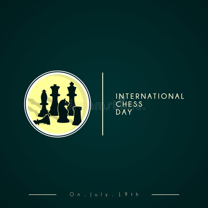 Διανυσματικό σχέδιο σκακιού για τη διεθνή ημέρα σκακιού στοκ εικόνες